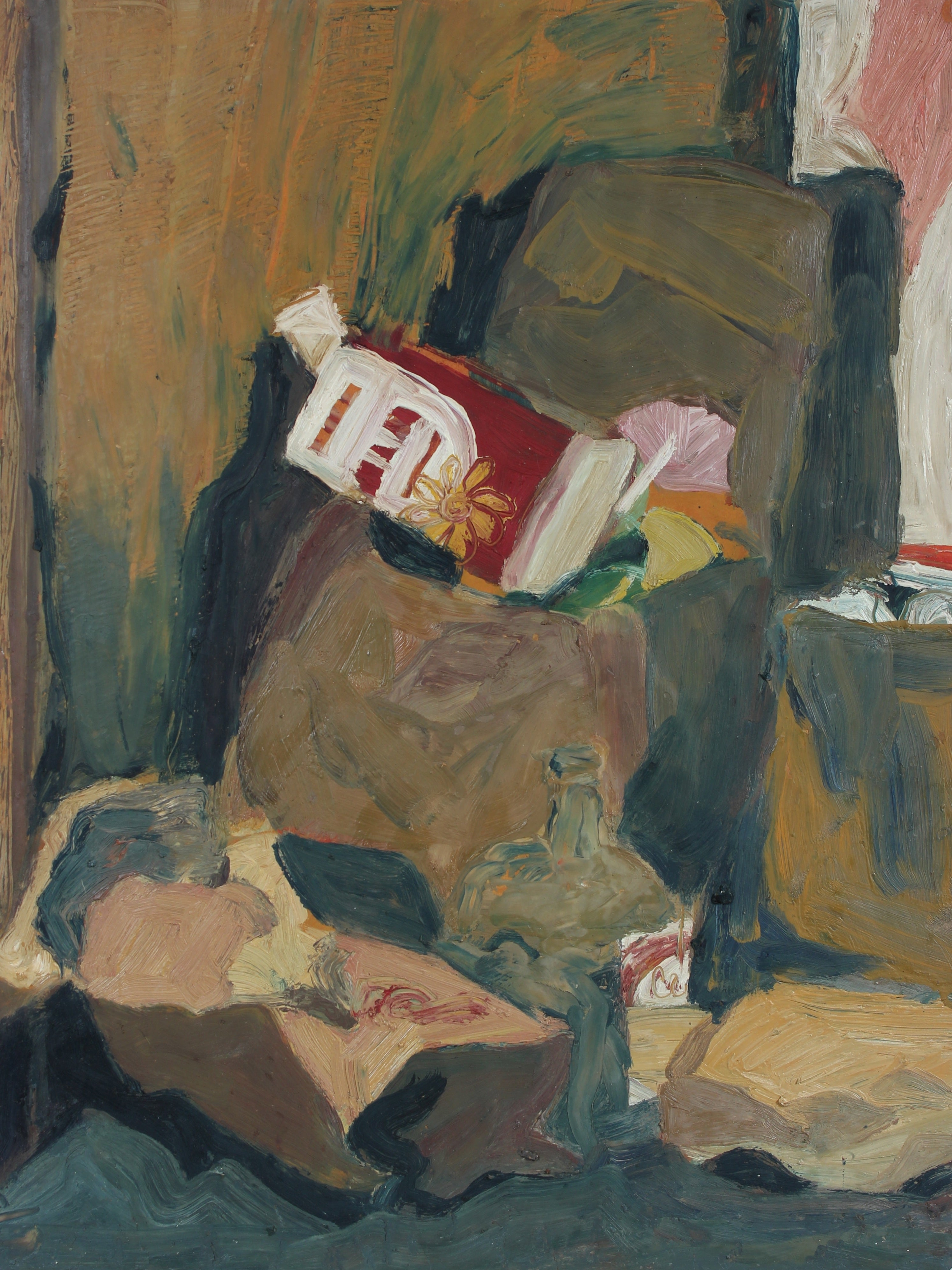 Muted Still Life in Oil Paint with Grocery Bags and Bottles, Circa 1960s