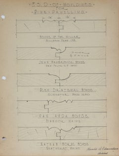 """F.S.D. of Mouldings for Pine Panelling"" Graphite Architectural Drawing, 1920s"