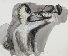 Abstracted Musician in Ink and Oil Pastel, Circa 1970s