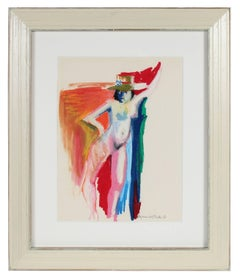 Colorful Nude Figure with Hat, Distemper and Pastel Drawing on Paper, 1950s-60s