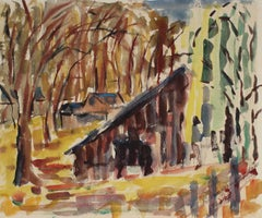 Expressionist Forest Landscape, Mid Century, Watercolor on Paper
