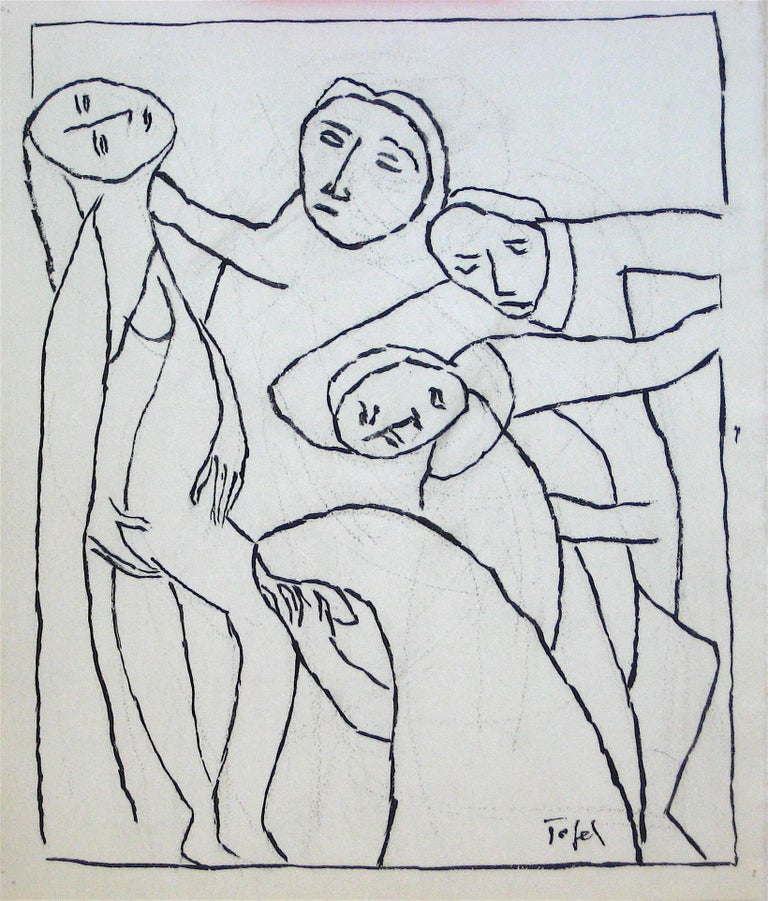 Expressionist Line Drawing in Ink, Early 20th Century