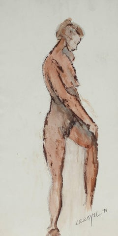 Female Nude Figure in Watercolor, 1979