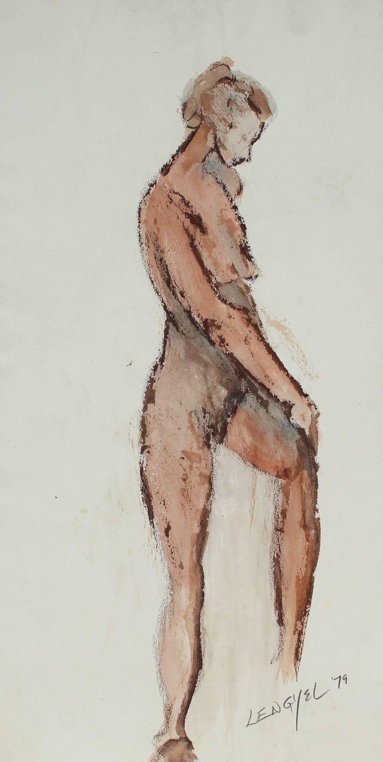Female Nude Figure in Watercolor, 1979