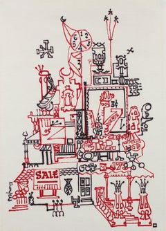 Architectural Fantasy Drawing in Red and Black Marker, Circa 1960s
