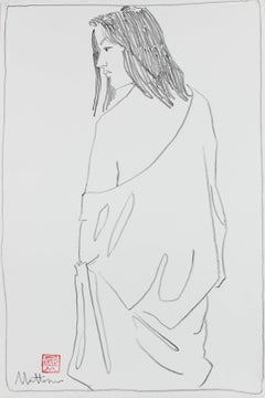 Draped Figure in Black Charcoal, Late 20th Century Drawing