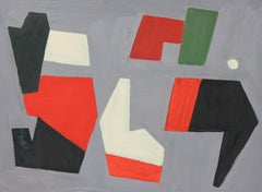 Mid Century Modern Geometric Abstract, Oil on Paper, 1943