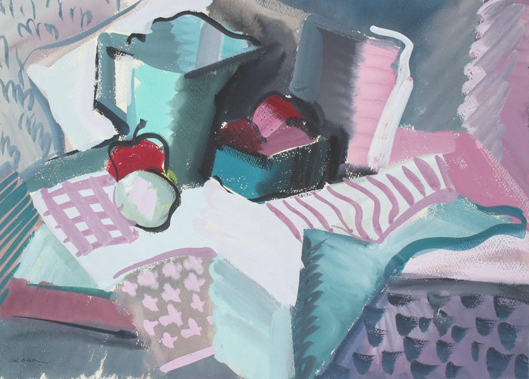 Textured Abstracted Still Life, Gouache Painting, Circa 1943