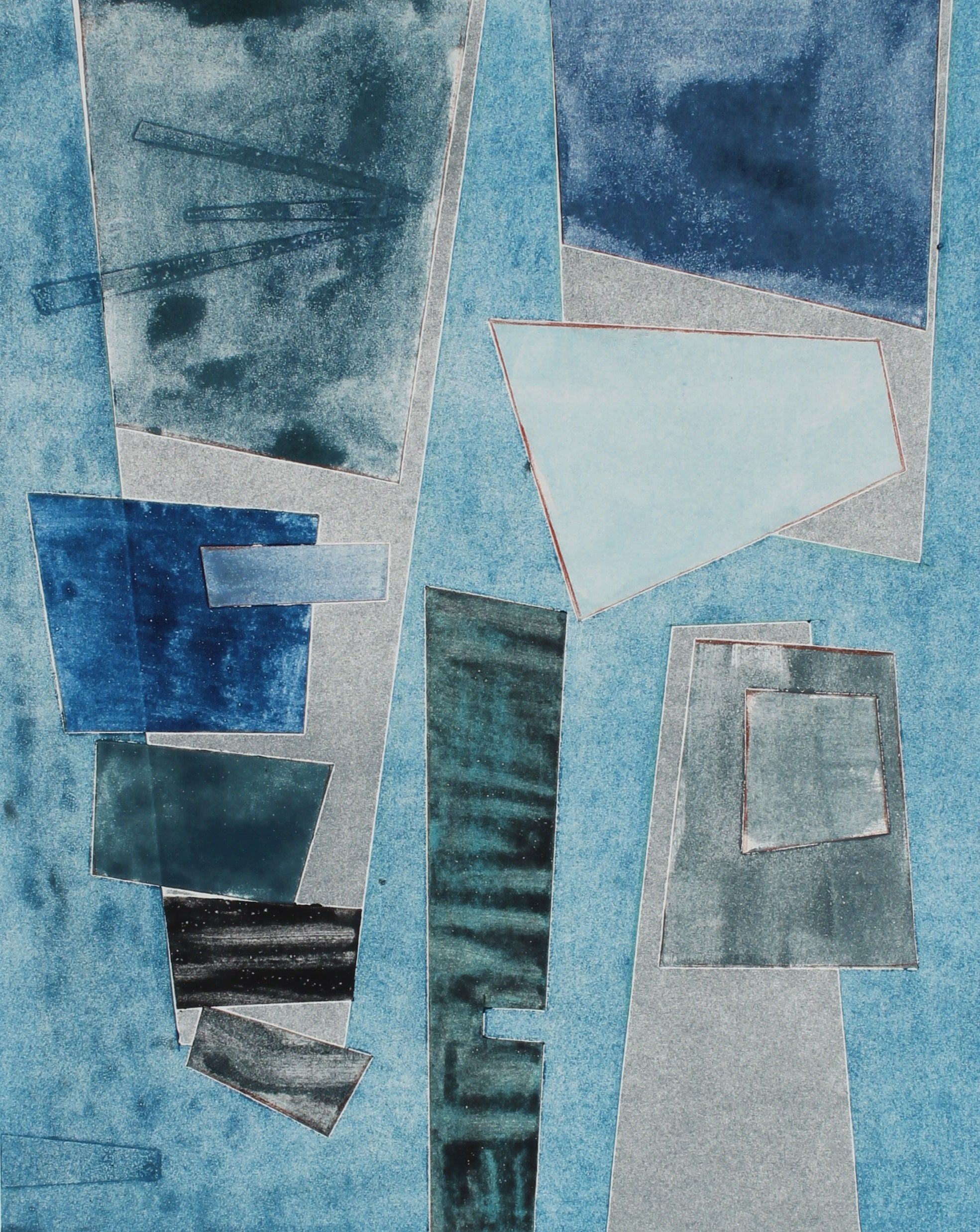 """Indigo Metropolis II"" Abstract Monotype in Blue, 2017"
