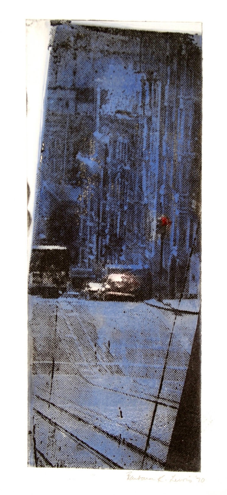 Framed Cityscape Screen Print in Indigo, 1970