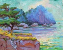 """""""Pt. Lobos in Purples"""" Seascape with Cypress Tree in Oil, 20th Century"""