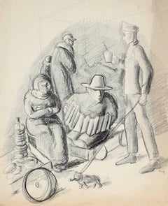 Street Entertainers, Graphite on Paper, Circa 1930s