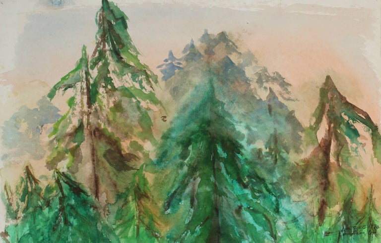 Mendocino Trees in Landscape, Watercolor Painting, 1970