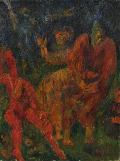 """Mercy"" Abstracted Expressionist Figures in Oil, 1946"