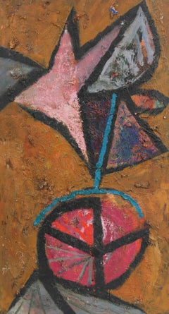 Modernist Abstract Painting in Oil, Circa 1950s