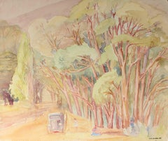 California Landscape with Eucalyptus, Watercolor Painting, Mid 20th Century