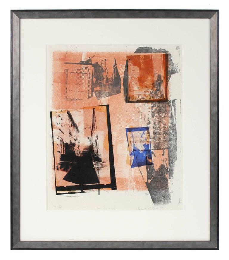 """Barbara Lewis Abstract Print - """"San Francisco"""" Mixed Media Printmaking, 1969"""