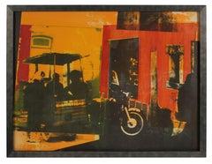"""""""Chestnut Vendor"""" Cityscape Lithograph in Warm Colors, 1972"""
