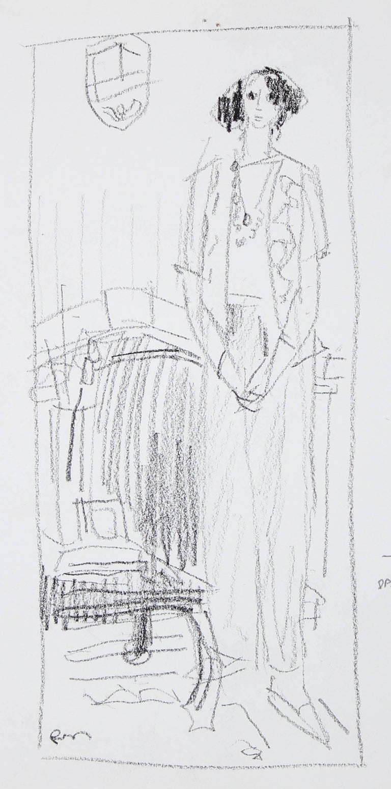 Monochromatic Female Figure, Ink Wash on Paper, 20th Century