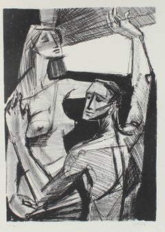 Nude Couple by a Window, Stone Lithograph, Circa 1950