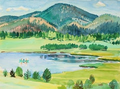 """Manitou Lake Pike National Forest"" Watercolor Landscape, 1971"