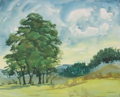 California Landscape with Trees, Mid 20th Century Watercolor Painting