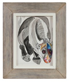 Modernist Illustration of a Bull, Ink and Pastel Drawing, 1968