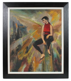 Modernist Portrait of a Woman in Red & Black, Oil Painting, Mid 20th Century