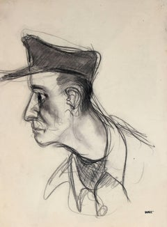 Portrait of a Man in a Hat, Charcoal Drawing, Mid 20th Century