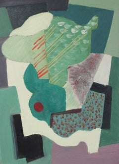 Mid Century Modern Abstracted Still Life in Green, Oil on Paper, 1943