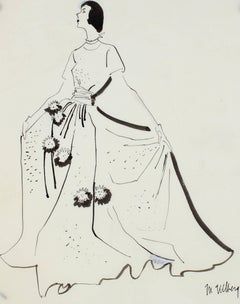 Mid Century Modern Fashion Illustration in Black Ink, Circa 1950