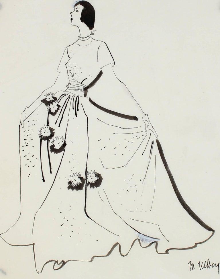 Mid Century Modern Fashion Illustration in Black Ink, Circa 1950