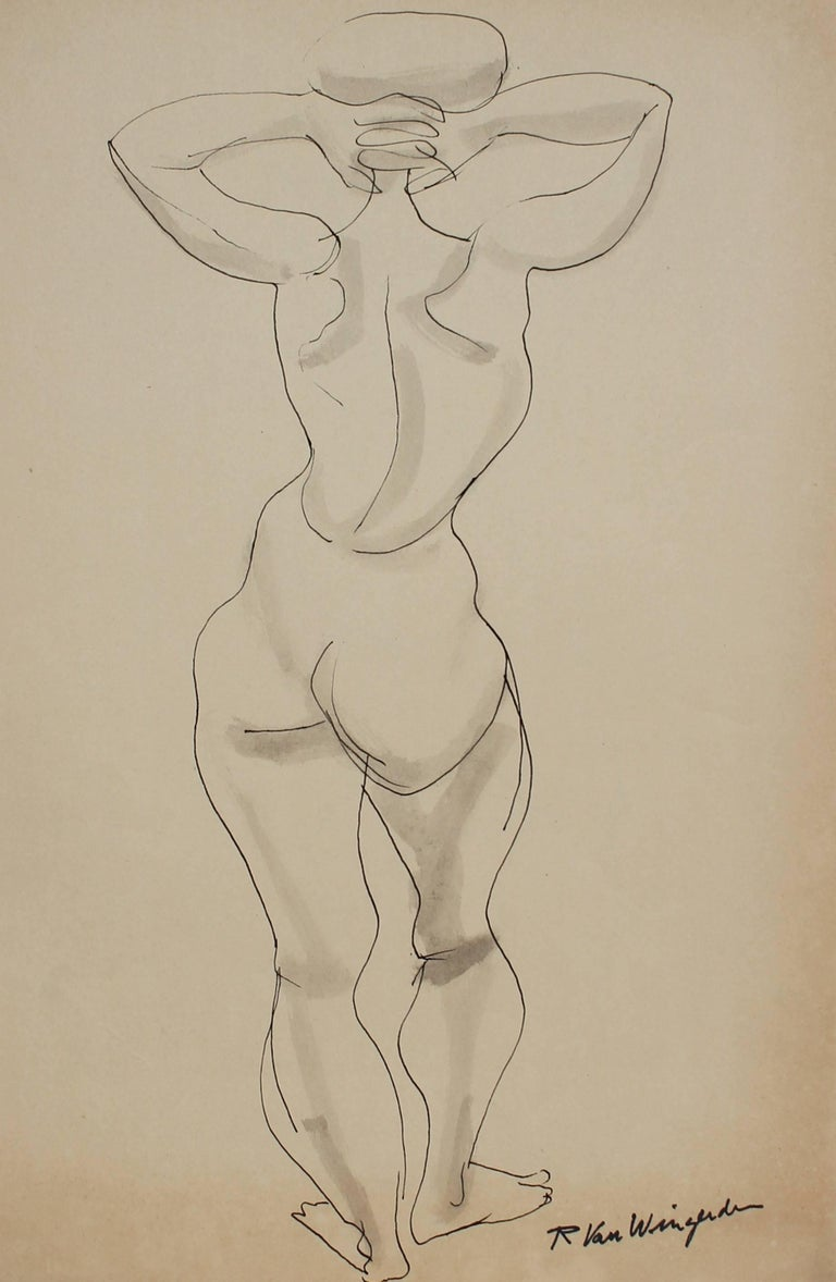 Monochromatic Expressionist Figure in Ink, Mid 20th Century