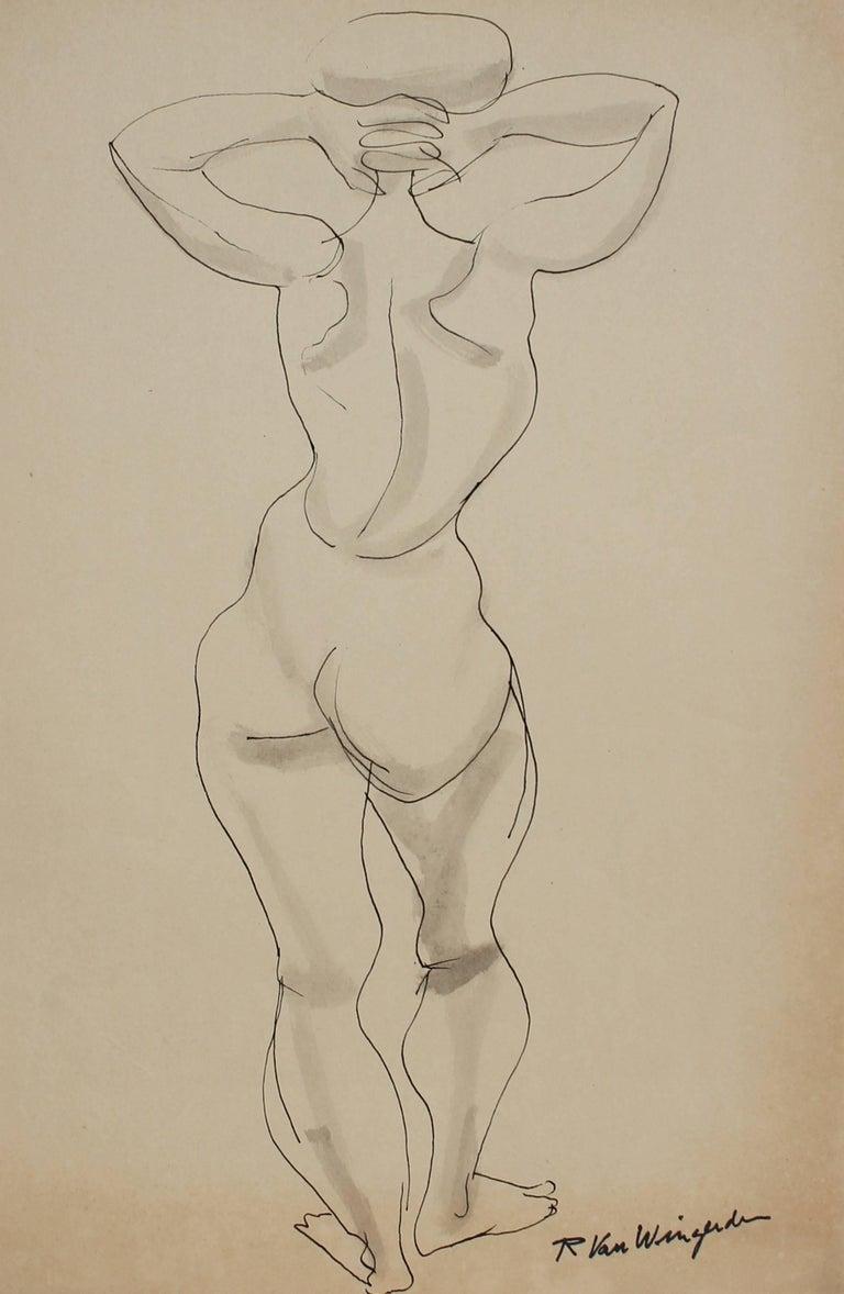 Richard Van Wingerden Nude - Monochromatic Expressionist Figure in Ink, Mid 20th Century