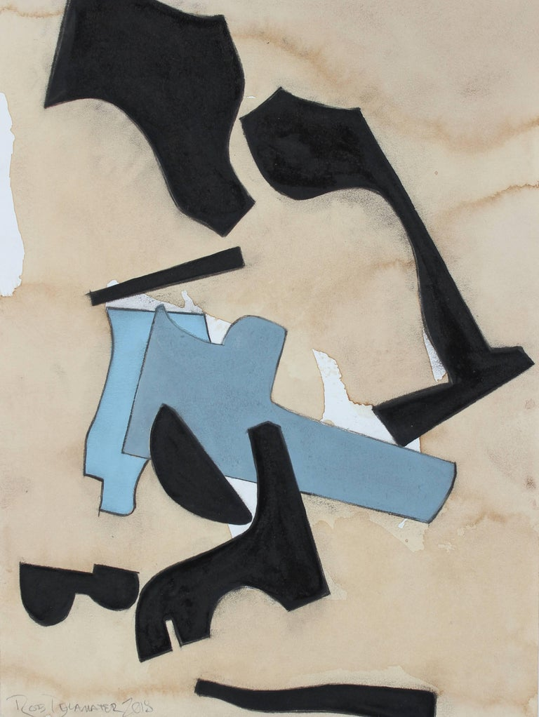 """Rob Delamater Abstract Drawing - """"Composition Based on a Guitar III"""" Geometric Mixed Media Abstract, 2018"""