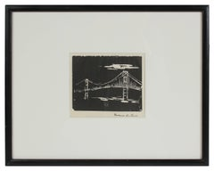 Monochromatic Bridge, Woodblock Print, 20th Century
