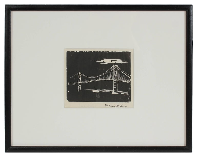 Barbara Lewis Landscape Print - Monochromatic Bridge, Woodblock Print, 20th Century