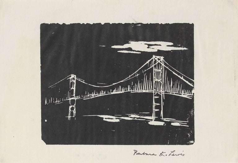 This mid to late 20th century woodcut print on paper of a bridge is by Chicago-based painter, photographer, and printmaker Barbara Lewis (1925-2008).  Lewis studied at the Art Institute of Chicago (1943), University of Illinois at Chicago (1967-70),