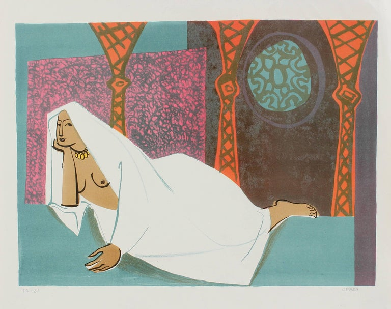 Veiled Woman Reclining, Stone Lithograph, Circa 1950