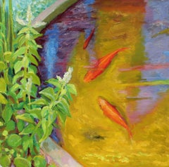 Koi Pond in Oil, 20th Century Painting