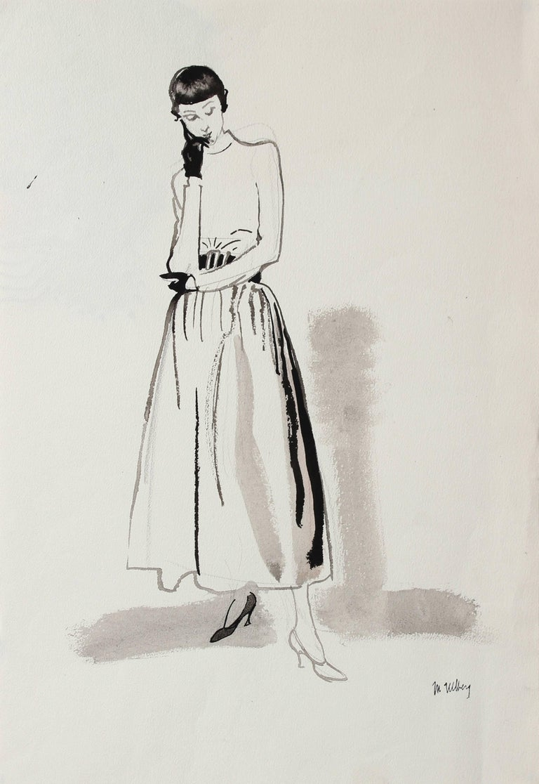 Mid Century Skirt and Top Fashion Illustration in Black Ink, Circa 1950