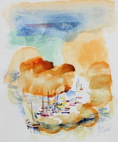 Bright Harbor with Boats, Watercolor Painting, Late 20th Century