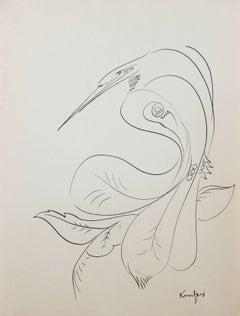 Minimal Bird Illustration in Ink, Circa 1970s
