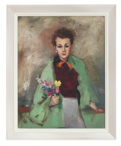 Mid Century Portrait of a Woman in Green, Oil on Canvas Painting