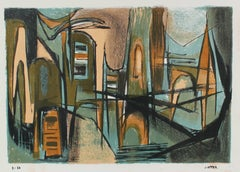 Modernist Lithograph in Blue and Brown, Circa 1950s