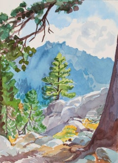 """Toward Thunder Mountain"" Alpine Landscape  in Watercolor, 1997"