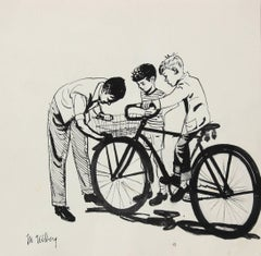 Mid Century Illustration of Kids and Bicycle, Black Ink, Circa 1950
