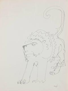Modernist Lion Illustration in Ink, Circa 1970s