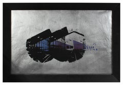 """""""Lisbon Station"""" Architectural Serigraph on Silver Paper, 1972"""