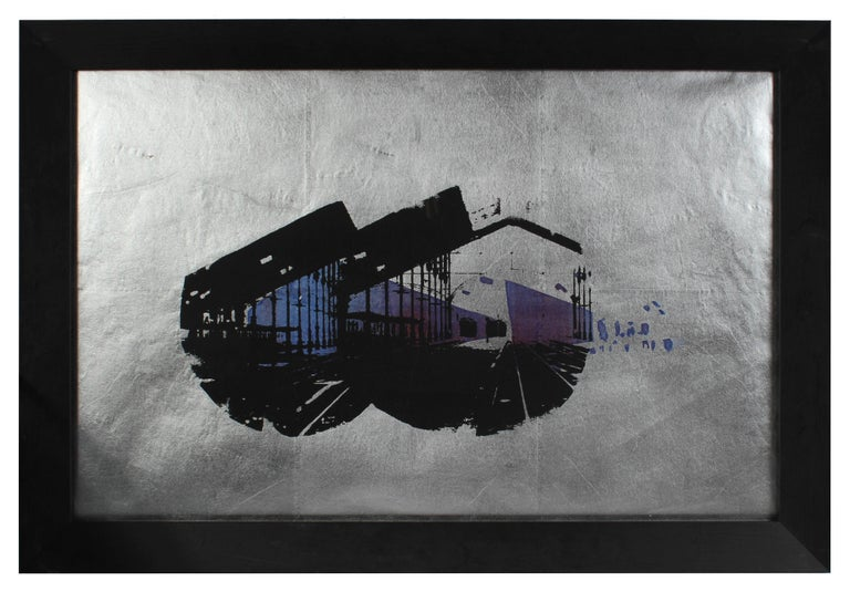 """Lisbon Station"" Architectural Serigraph on Silver Paper, 1972"